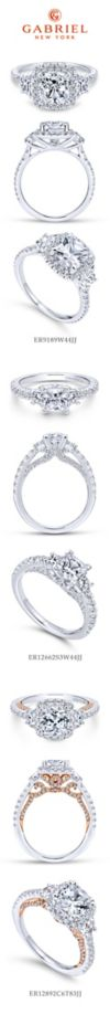 14K White Gold Cushion Three Stone Halo Diamond Engagement Ring angle