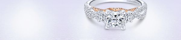 Ambrosia 14k White Gold Princess Cut 3 Stones Engagement Ring