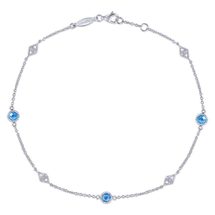 925 Sterling Silver Ankle Bracelet with Blue Topaz and White Sapphire Stations  angle