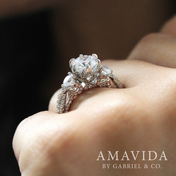 18K White/Rose Gold Diamond Engagement Ring