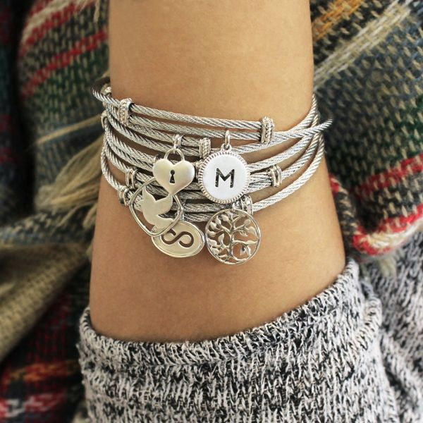 925 Silver/Stainless Steel Tree Design Charm Bangle