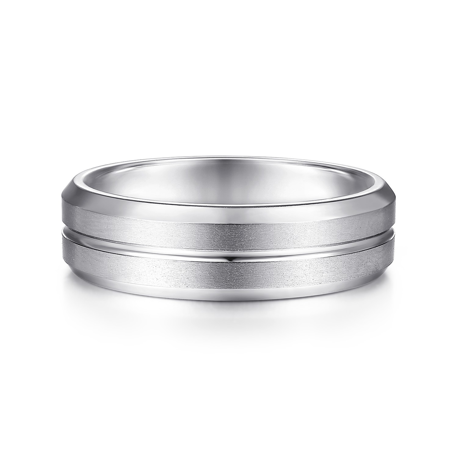 Details about  /Stainless Steel Grooved and Beaded 6 MM Polished Wedding Band