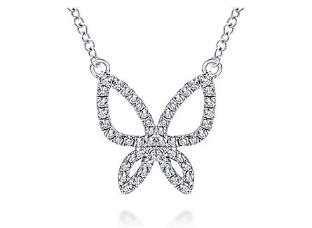 14K White Gold Necklace with Diamonds