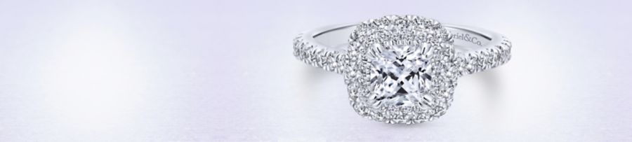 14K White Gold Cushion Cut Diamond Engagement Ring angle