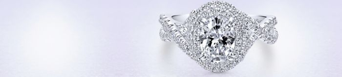 14K White Gold Oval Diamond Engagement Ring angle