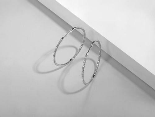 14K White Gold Prong Set 40mm Round Classic Diamond Hoop Earrings angle