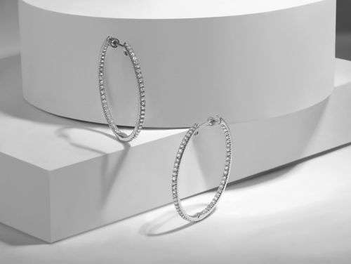 14K White Gold Prong Set 30mm Round Inside Out Diamond Hoop Earrings angle