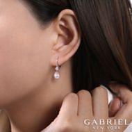14k White Gold Cultured Pearl Diamond Drop Earrings angle