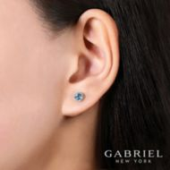 14k White Gold Round Cut Diamond Halo & Swiss Blue Topaz Stud Earrings angle