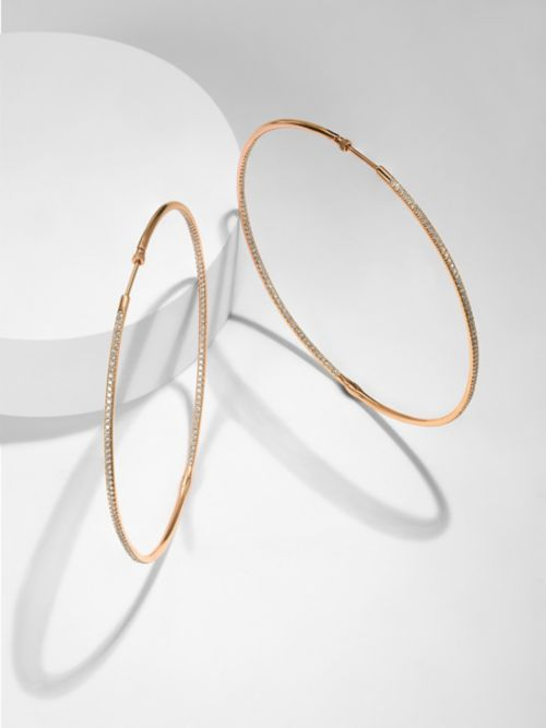 14K Rose Gold Prong Set  80mm Round Inside Out Diamond Hoop Earrings angle