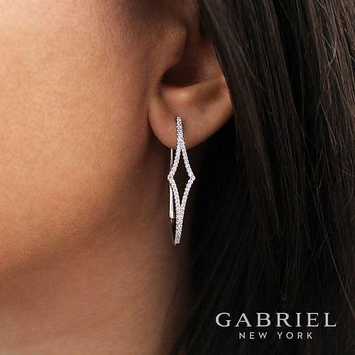 14K White Gold 35MM Fashion Earrings angle