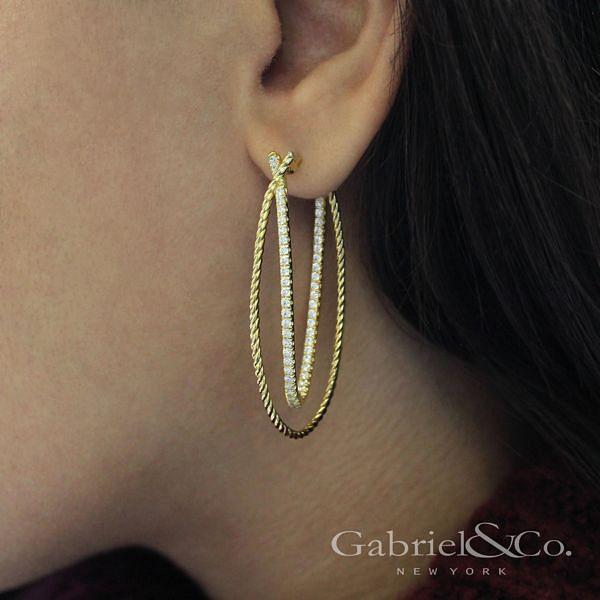 14k Yellow Gold Intricate Twisted Diamond Double Hoop Earrings