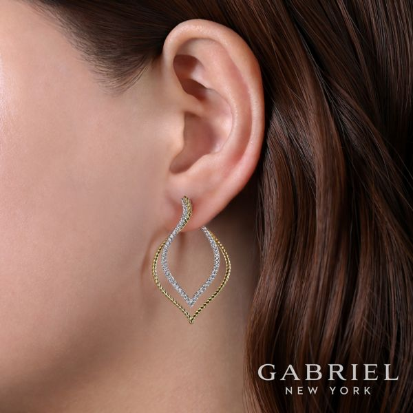 14k Yellow/White Gold 40mm Intricate Layered Diamond Hoop Earrings