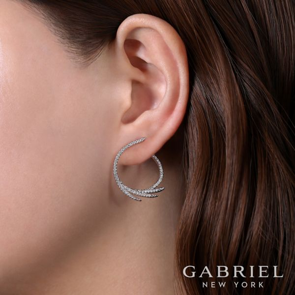 14k White Gold Intricate Diamond Fan Hoop Earrings angle