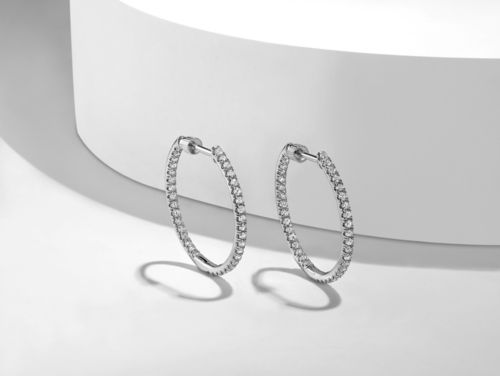 14K White Gold French Pavé 20mm Round Inside Out Diamond Hoop Earrings angle
