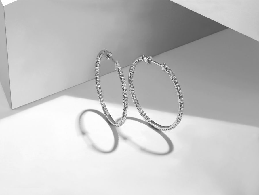 14K White Gold French pave 30mm Round Inside Out Diamond Hoop Earrings angle