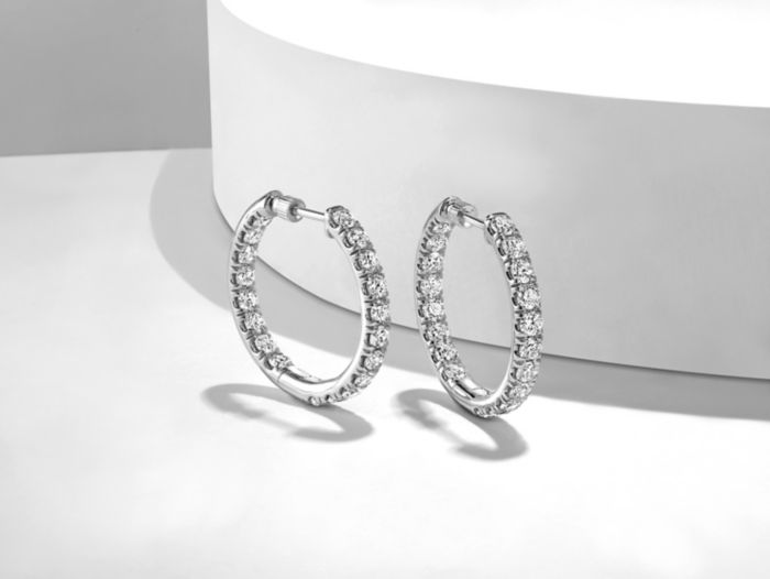 14K White Gold French Pave  20mm Round Inside Out Diamond Hoop Earrings angle