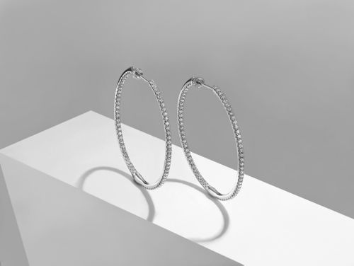 14K White Gold French Pave  40mm Round Inside Out Diamond Hoop Earrings angle