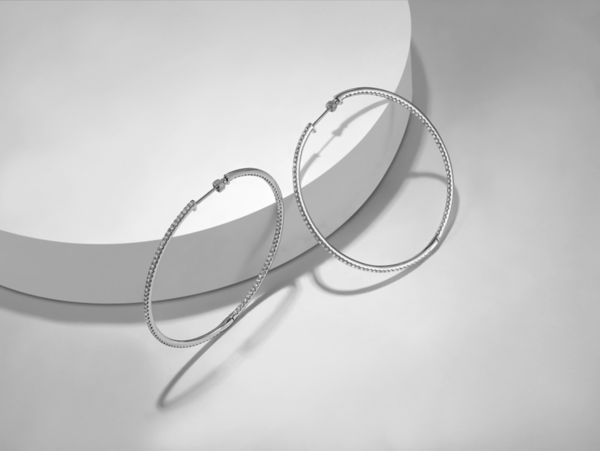 14K White Gold 60MM Fashion Earrings angle