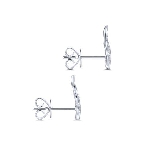 14K White Gold Diamond Leaf Stud Earrings angle