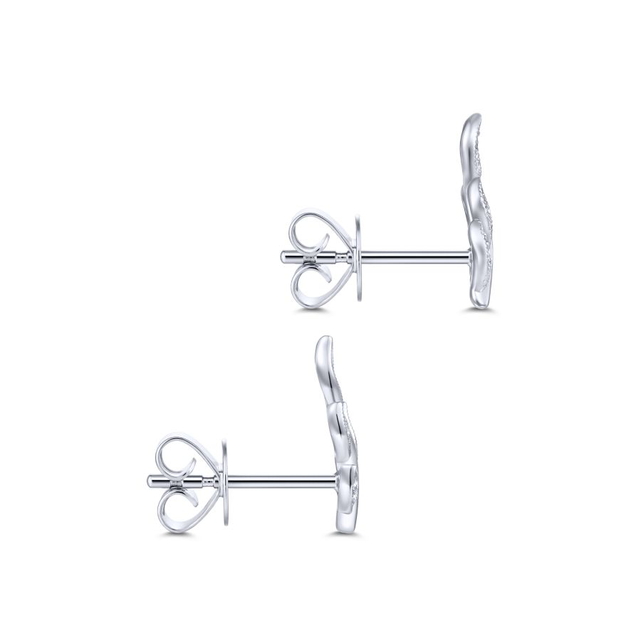 14k White Gold Diamond Leaves Stud Earrings angle