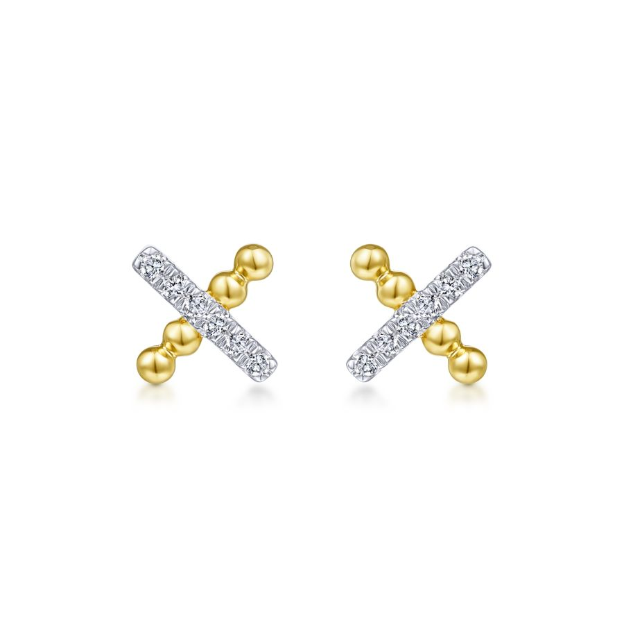 14K Yellow Gold Beaded and Diamond X Stud Earrings