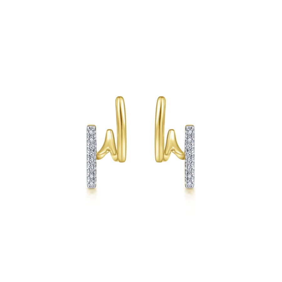 14K Yellow Gold Split Diamond J Diamond Earrings