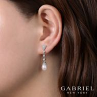 14k White Gold Floral Pearl Diamond Drop Earrings angle