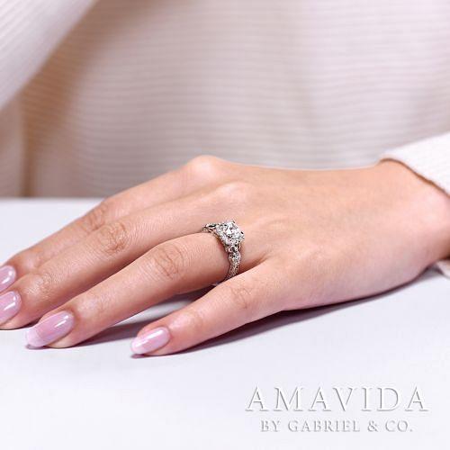 Vintage Inspired 18K White Gold Round Halo Diamond Engagement Ring angle