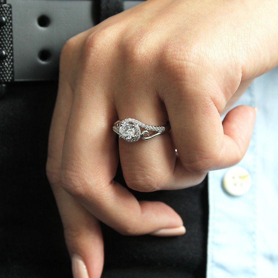 14K White Gold Round Bypass Diamond Engagement Ring angle
