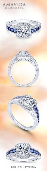 Vintage 18K White Gold Round Halo Sapphire and Halo Diamond Engagement Ring angle