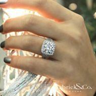 Bowery 18k White Gold Round Halo Engagement Ring angle