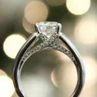 Sutter 18k White Gold Round Straight Engagement Ring angle