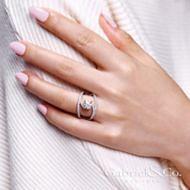 Nova 14k White Gold Round Split Shank Engagement Ring angle