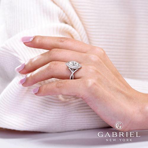 14K White Gold Marquise Shape Diamond Engagement Ring angle