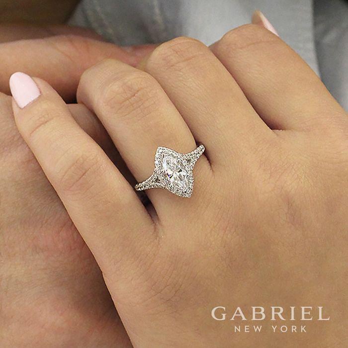14K White Gold Marquise Halo Diamond Engagement Ring angle