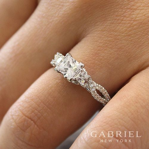 14K White Gold Princess Cut Diamond Engagement Ring angle