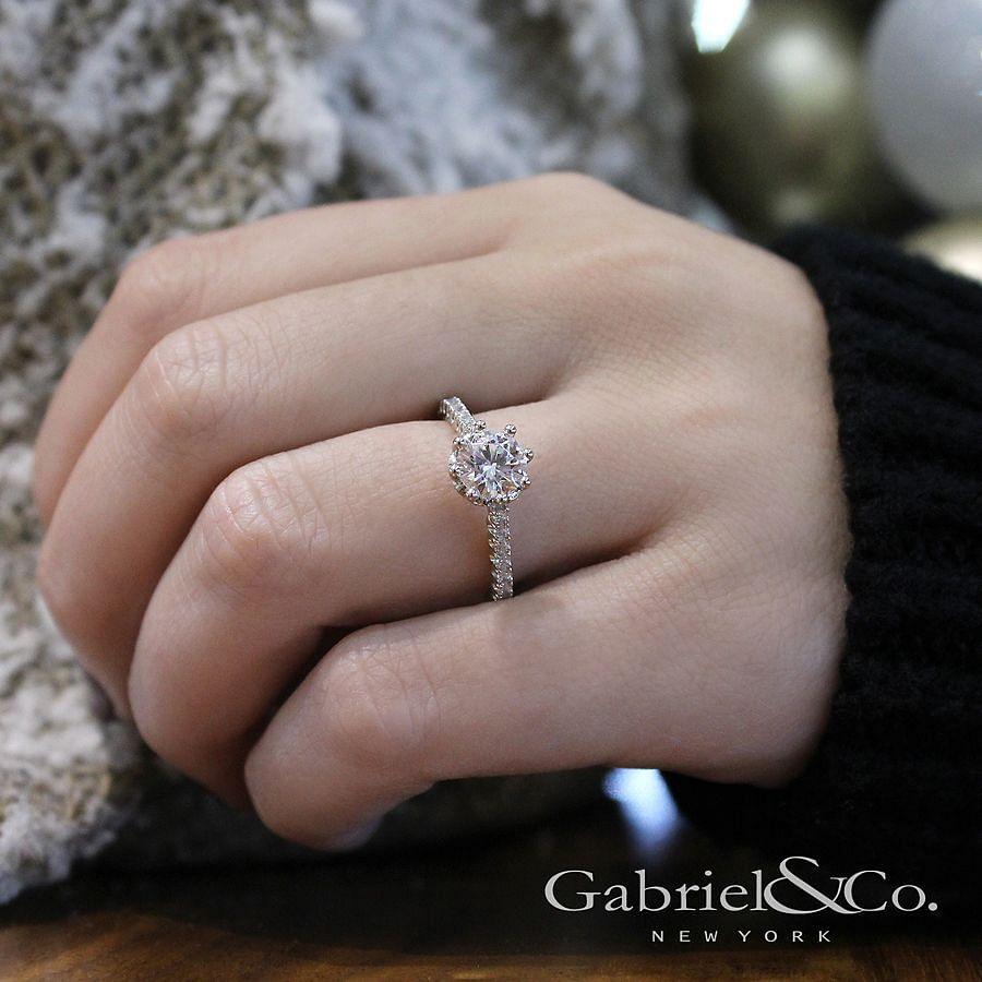 14K White Gold Round Diamond Engagement Ring angle
