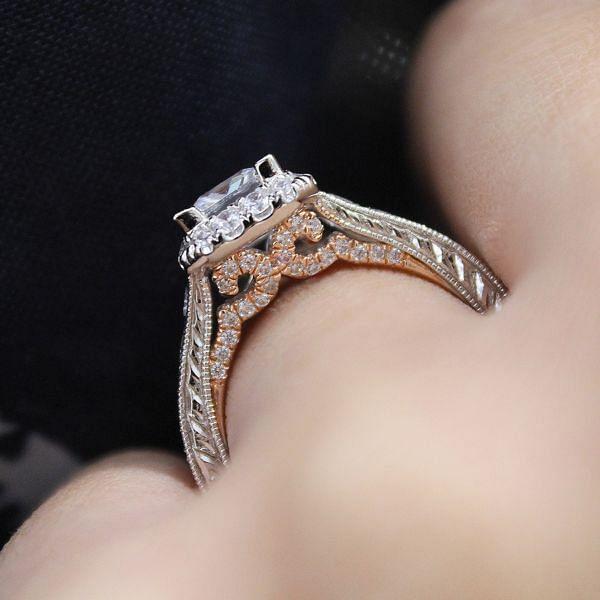 14K White-Rose Gold Princess Halo Diamond Engagement Ring angle