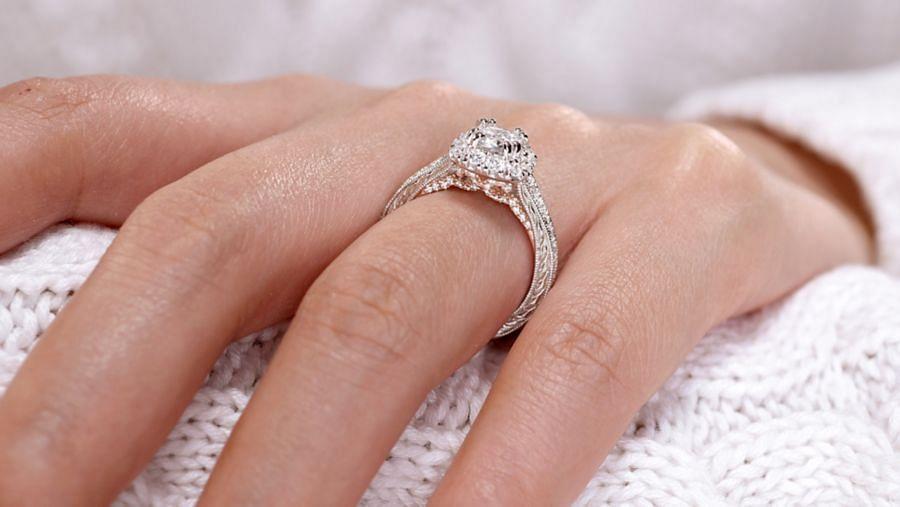 14K White-Rose Gold Cushion Halo Diamond Engagement Ring angle
