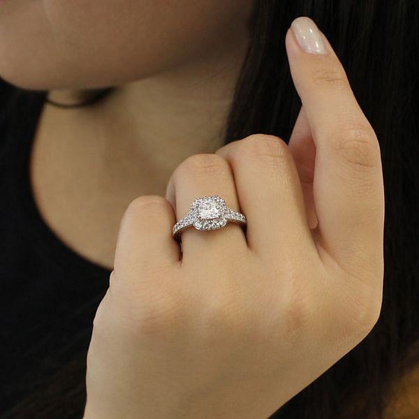 Samantha 14k White And Rose Gold Cushion Cut Halo Engagement Ring angle
