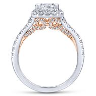 Cadence 14k White And Rose Gold Princess Cut Halo Engagement Ring angle