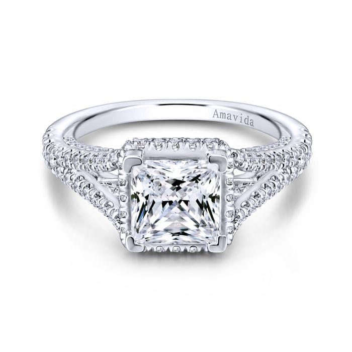 18K White Gold Hidden Halo Princess Cut Diamond Engagement Ring angle