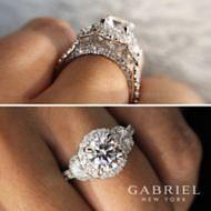 18k White Gold Round 3 Stone Halo Engagement Ring angle