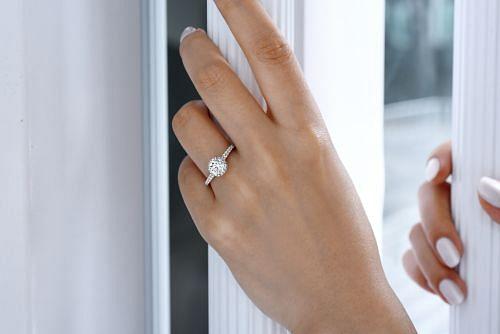 14K White-Rose Gold Hidden Halo Round Diamond Engagement Ring angle