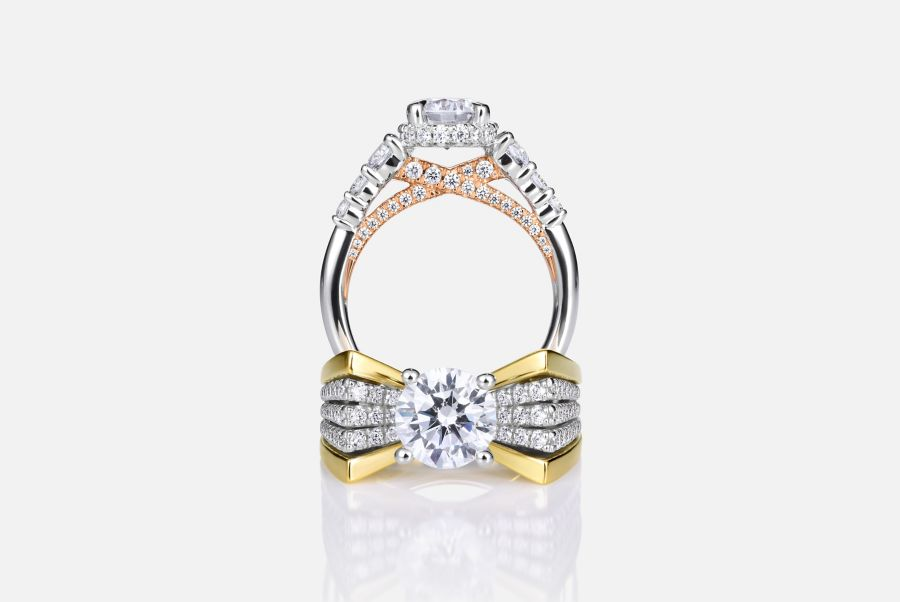 14K White-Rose Gold Hidden Halo Round Diamond Engagement Ring angle