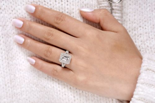 14K White Gold Emerald Cut Diamond Engagement Ring angle