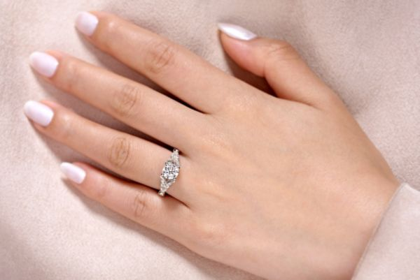 Luciana 14k White Gold Round Split Shank Engagement Ring