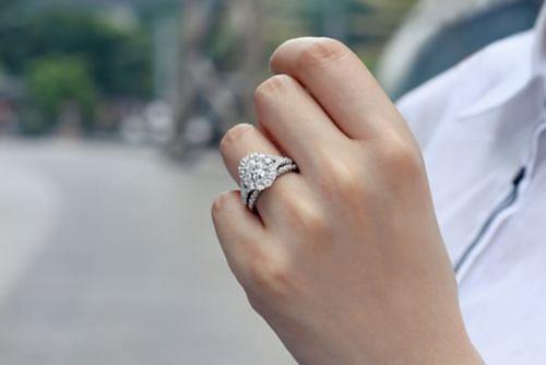 14K White-Rose Gold Oval Double Halo Diamond Engagement Ring angle