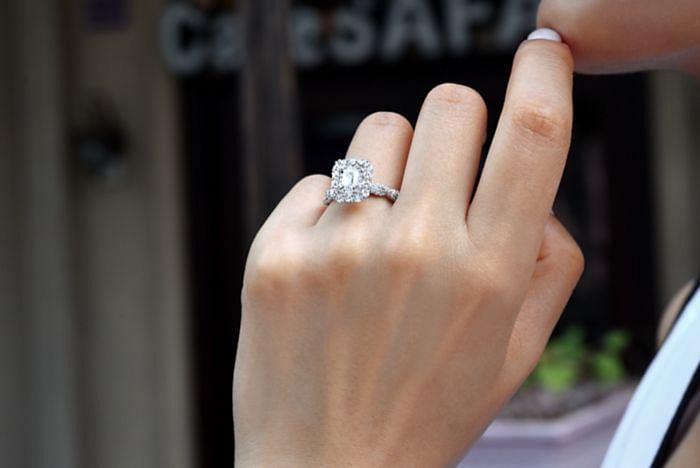 14K White Gold Emerald Cut Diamond Engagement Ring angle